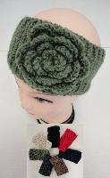 Hand Knitted Ear Band [Solid Color with Flower] LOOP